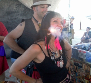 Looking fit at Burning Man 2012 after P90X...