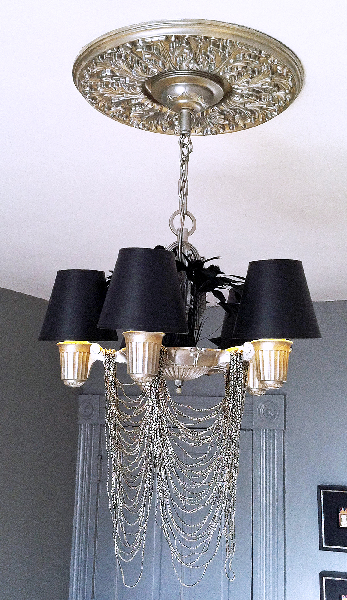 The Diy Bedroom Re Do Chic Rock Star Glam The Ceiling Light Restyled The Year Of Living