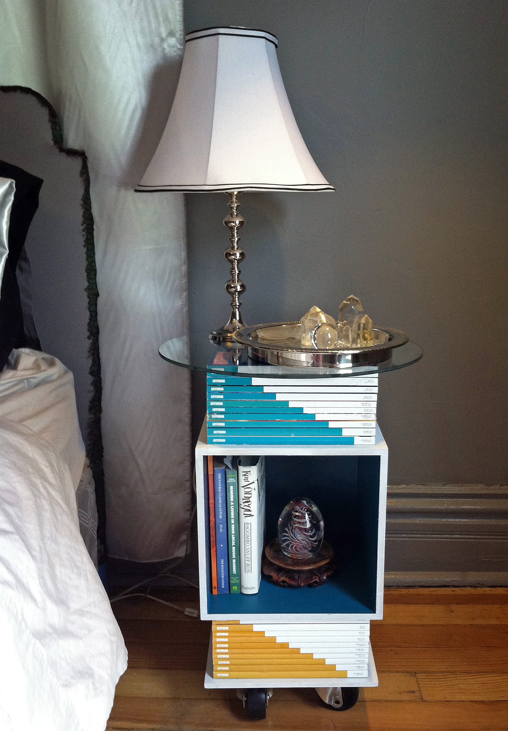 Modern nightstand bed side table diy made with old art magazines magstanddone geotapseo Gallery