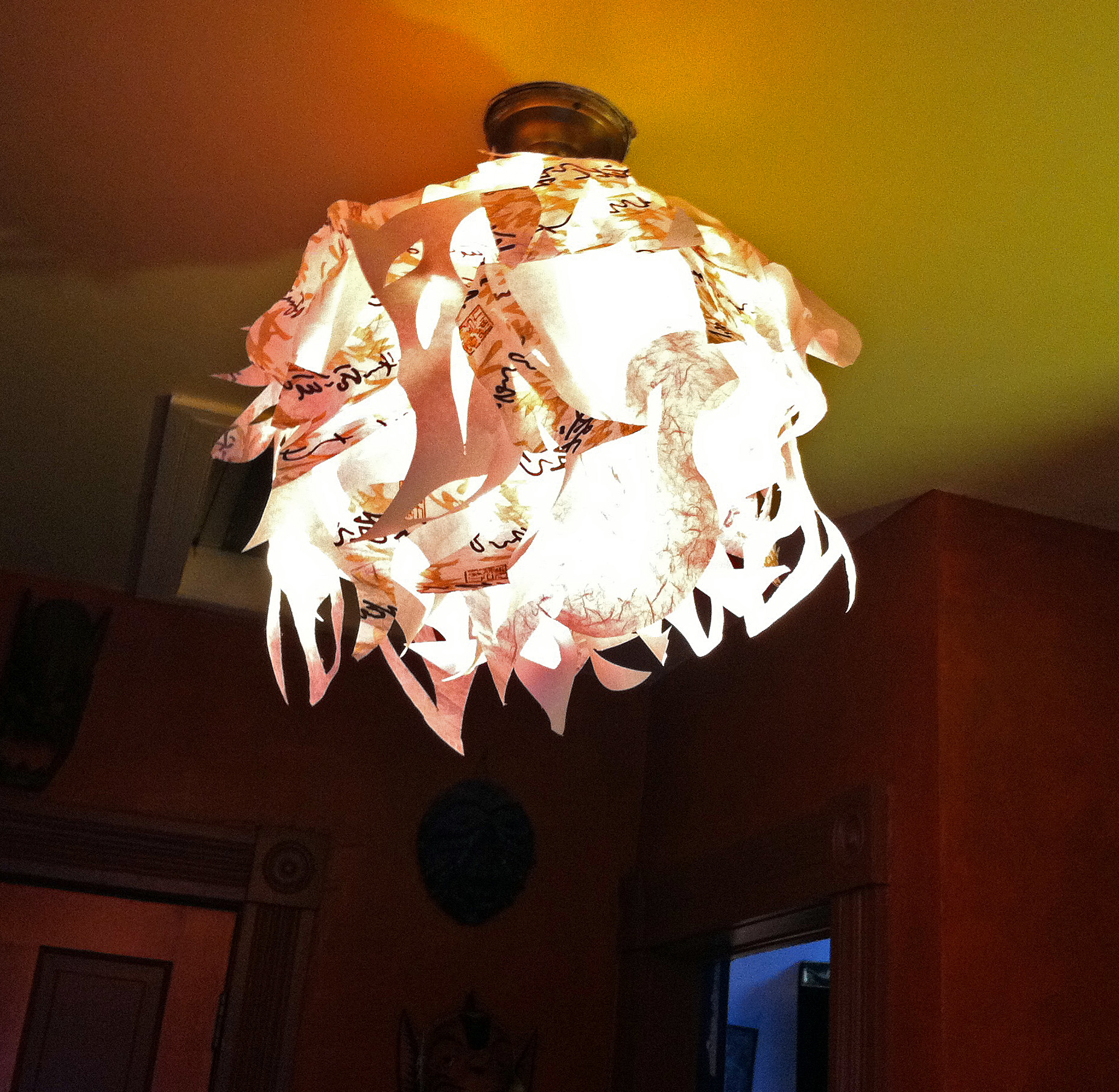 funky artsy fast paper hanging ceiling light cover the year of funky artsy fast paper light lightafter2