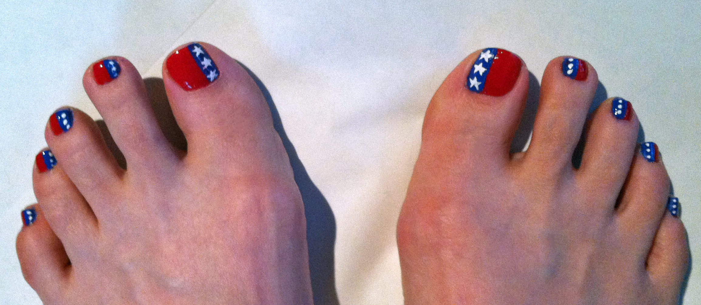 Star spangled toes a patriotic 4th of july nail art pedicure with all finished polish drying prinsesfo Gallery
