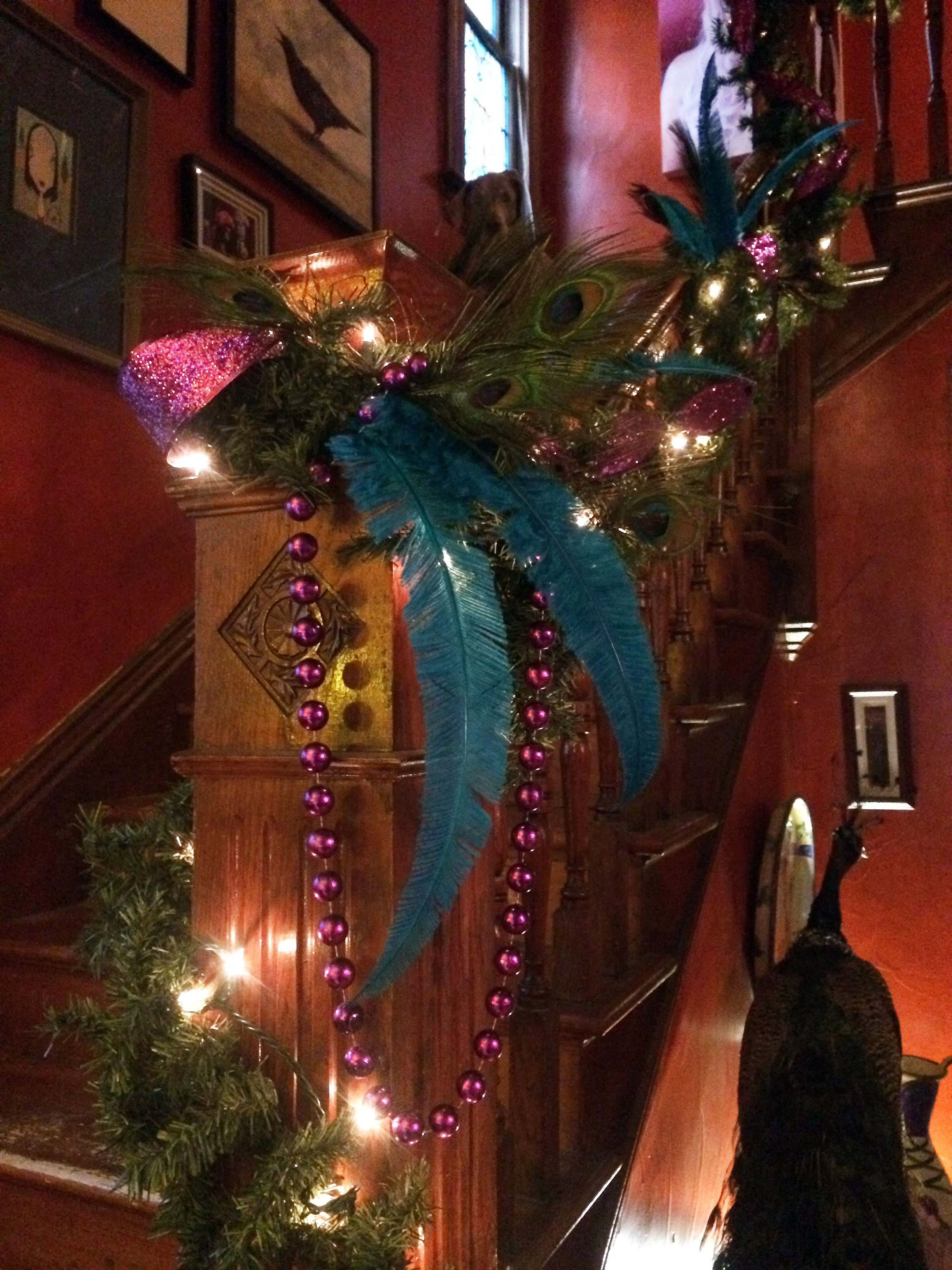 heres a close up of the newel post yes that is a taxidermy peacock herman to the right one of my most prized possessions he lives there year round - Where To Buy Christmas Lights Year Round